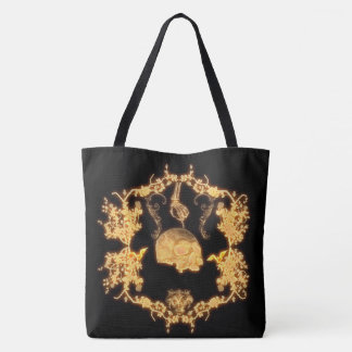 yellow skull with flowers tote bag