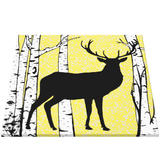 Yellow Sky Buck Deer Birch Forest Wrapped Canvas