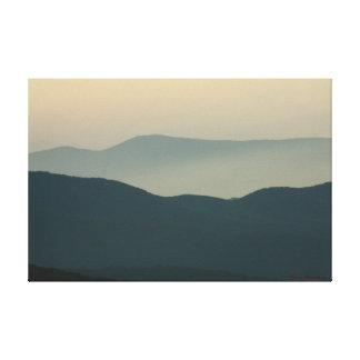 Yellow Sky Dark Mountains Canvas Print