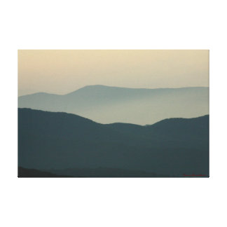 Yellow Sky Dark Mountains Stretched Canvas Print