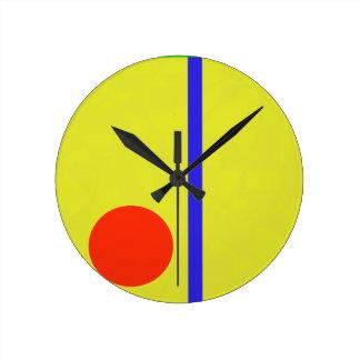 Yellow Sky Red Sun Round Wall Clock