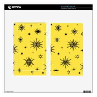 Yellow sky with black stars kindle fire skin