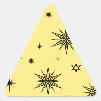 Yellow sky with black stars triangle sticker