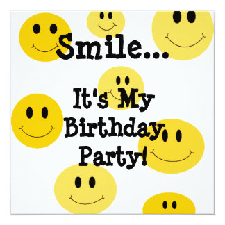 Yellow Smile Face Birthday Party Invitations