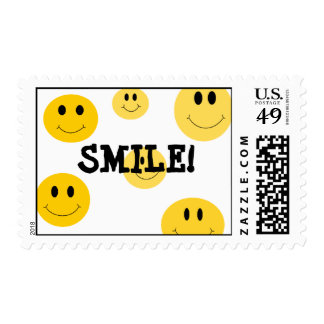 Yellow Smile Face Postage Stamps
