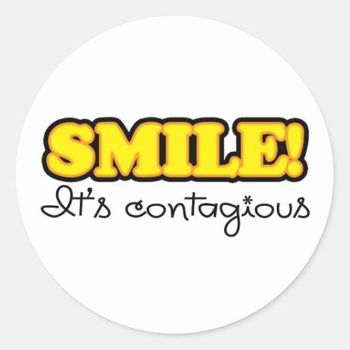 Yellow Smile Quote Classic Round Sticker