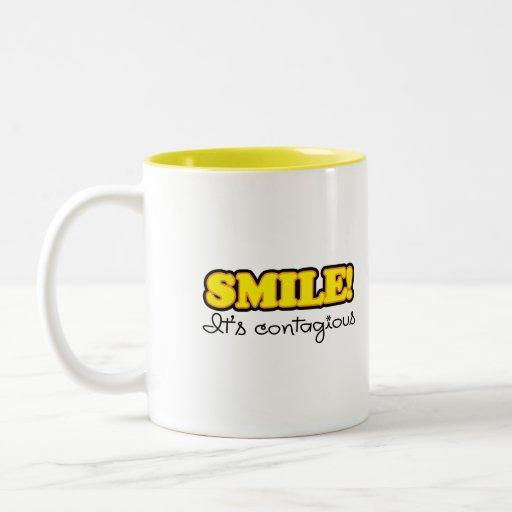 Yellow Smile Quote Two-Tone Coffee Mug