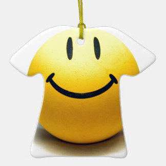 Yellow Smiley Ball Globe Smile Love Happiness Joy Double-Sided T-Shirt Ceramic Christmas Ornament