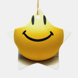 Yellow Smiley Ball Globe Smile Love Happiness Joy Double-Sided Star Ceramic Christmas Ornament