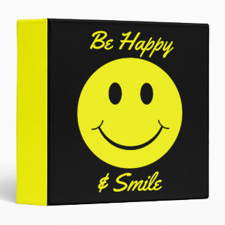 Yellow Smiley Face Be Happy and Smile Binder