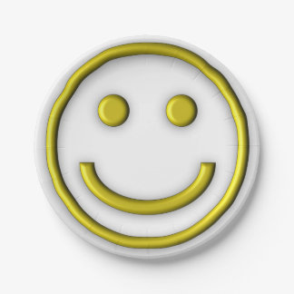Yellow Smiley face Custom Paper Plates
