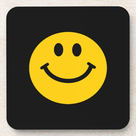 Yellow Smiley Face Drink Coaster