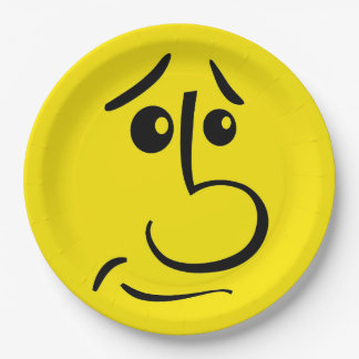 Yellow Smiley Face Funny Emoticon Birthday Party Paper Plate