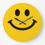 Yellow Smiley Face Large Clock