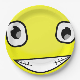 Yellow Smiley Face Laugh Emoticon Birthday Party Paper Plate