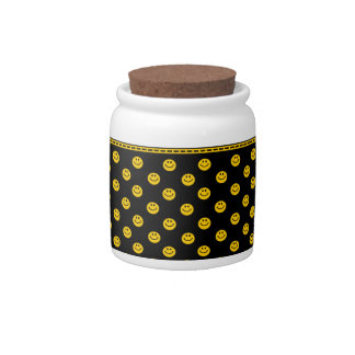 Yellow Smiley Face Pattern Black Jar Candy Dish