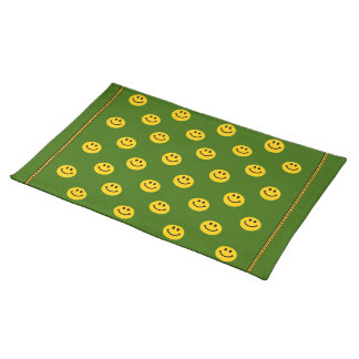 Yellow Smiley Face Pattern green Placemats