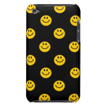 Yellow Smiley Face Pattern on Black Barely There iPod Case