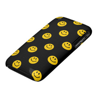 Yellow Smiley Face Pattern on Black Case-Mate iPhone 3 Case
