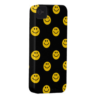 Yellow Smiley Face Pattern on Black iPhone 4 Cover