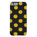 Yellow Smiley Face Pattern on Black iPhone 6 Case
