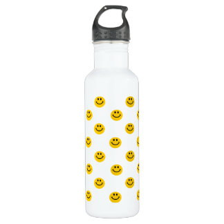 Yellow Smiley Face Pattern 24oz Water Bottle