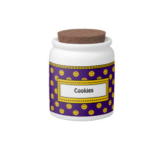 Yellow Smiley Face Pattern Purple Cookie Jar Candy Jars