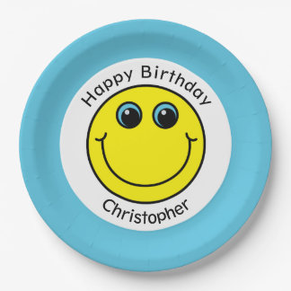 Yellow Smiley Face Personalized Birthday Party Paper Plate