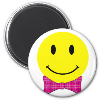 Yellow Smiley Face Pink Bow 2 Inch Round Magnet
