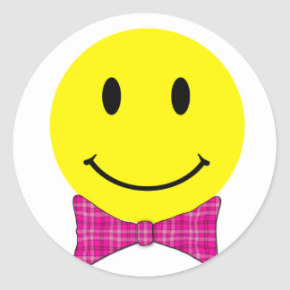 Yellow Smiley Face Pink Bow Classic Round Sticker
