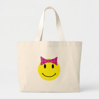 Yellow Smiley Face Pink Bow Large Tote Bag
