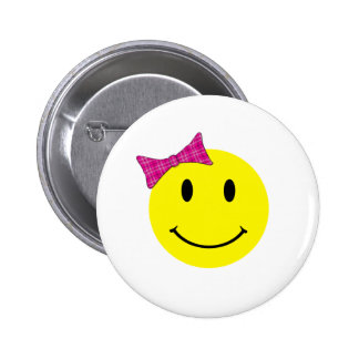 Yellow Smiley Face Pink Bow Pinback Button