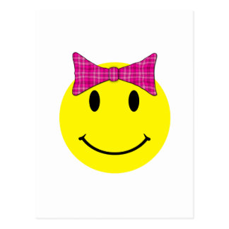 Yellow Smiley Face Pink Bow Postcard