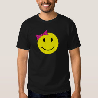 Yellow Smiley Face Pink Bow T Shirt