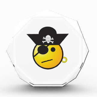 Yellow Smiley Face Pirate w/ Hat, Earring, & Patch Acrylic Award