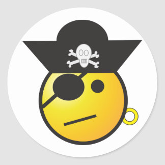 Yellow Smiley Face Pirate w/ Hat, Earring, & Patch Classic Round Sticker