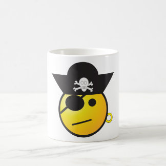 Yellow Smiley Face Pirate w/ Hat, Earring, & Patch Coffee Mug