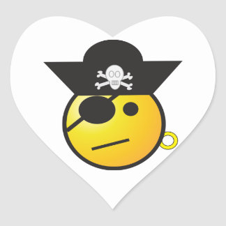 Yellow Smiley Face Pirate w/ Hat, Earring, & Patch Heart Sticker