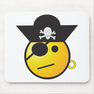 Yellow Smiley Face Pirate w/ Hat, Earring, & Patch Mouse Pads