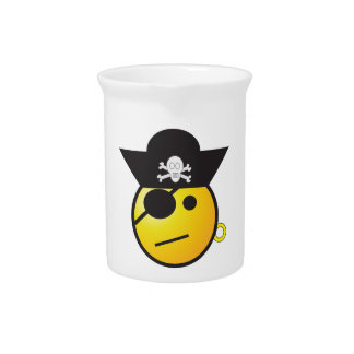 Yellow Smiley Face Pirate w/ Hat, Earring, & Patch Pitcher