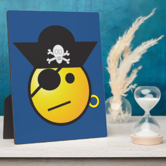 Yellow Smiley Face Pirate w/ Hat, Earring, & Patch Photo Plaque