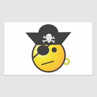 Yellow Smiley Face Pirate w/ Hat, Earring, & Patch Rectangular Sticker