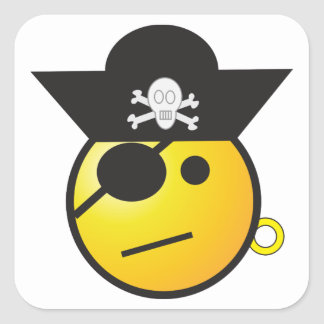 Yellow Smiley Face Pirate w/ Hat, Earring, & Patch Square Sticker