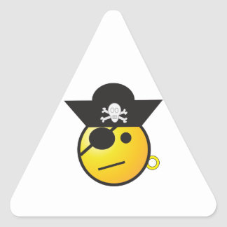 Yellow Smiley Face Pirate w/ Hat, Earring, & Patch Triangle Sticker