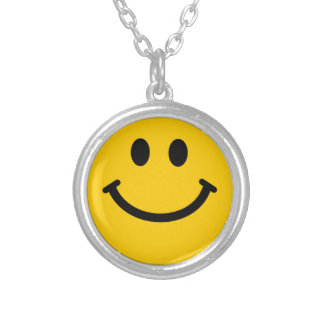 Yellow Smiley Face Silver Plated Necklace