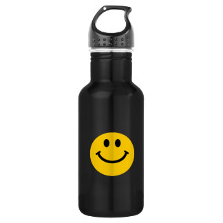 Yellow Smiley Face Stainless Steel Water Bottle