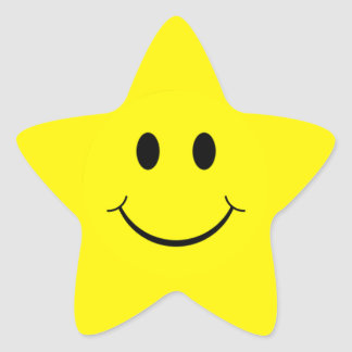 Yellow Smiley Face Star Shape Stickers