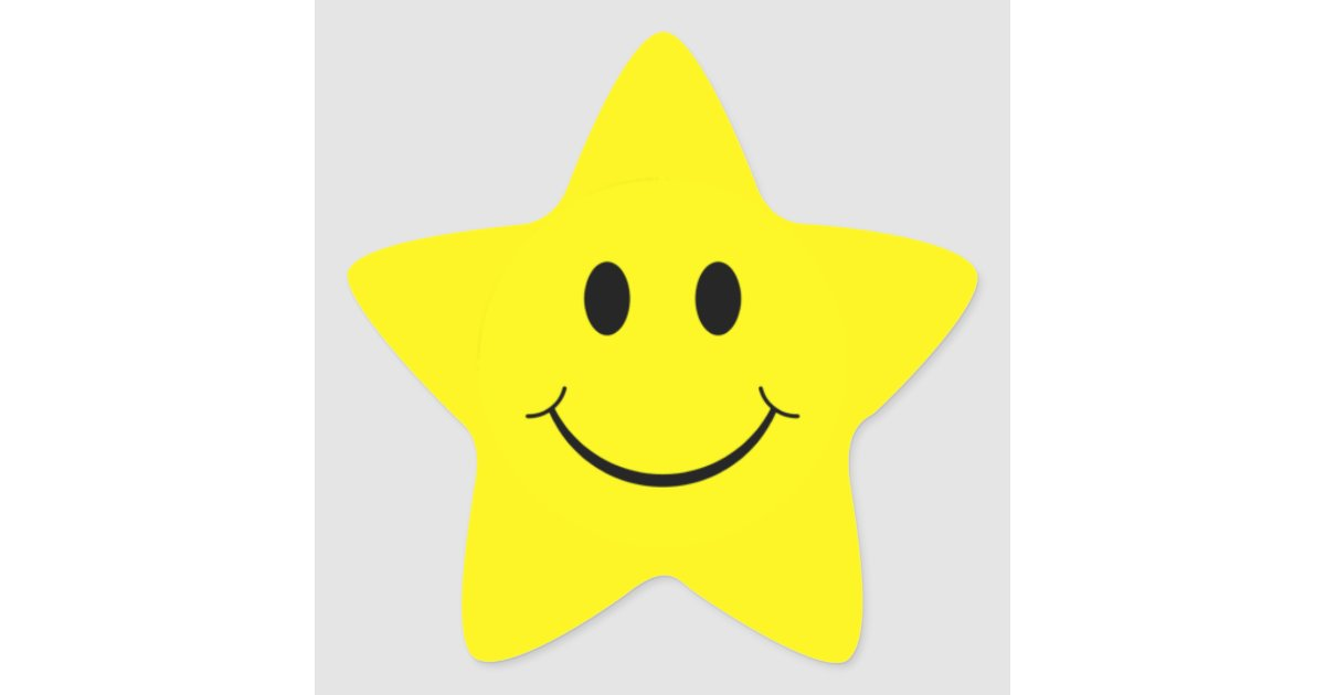 Yellow smiley face star shape stickers zazzle