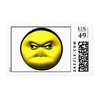 Yellow smiley face that is angry. postage