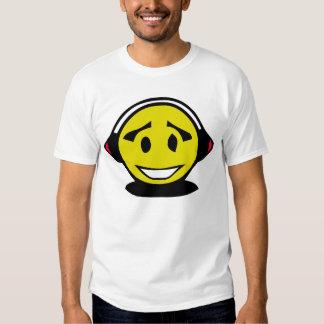 Yellow smiley face wearing headphones tee shirt